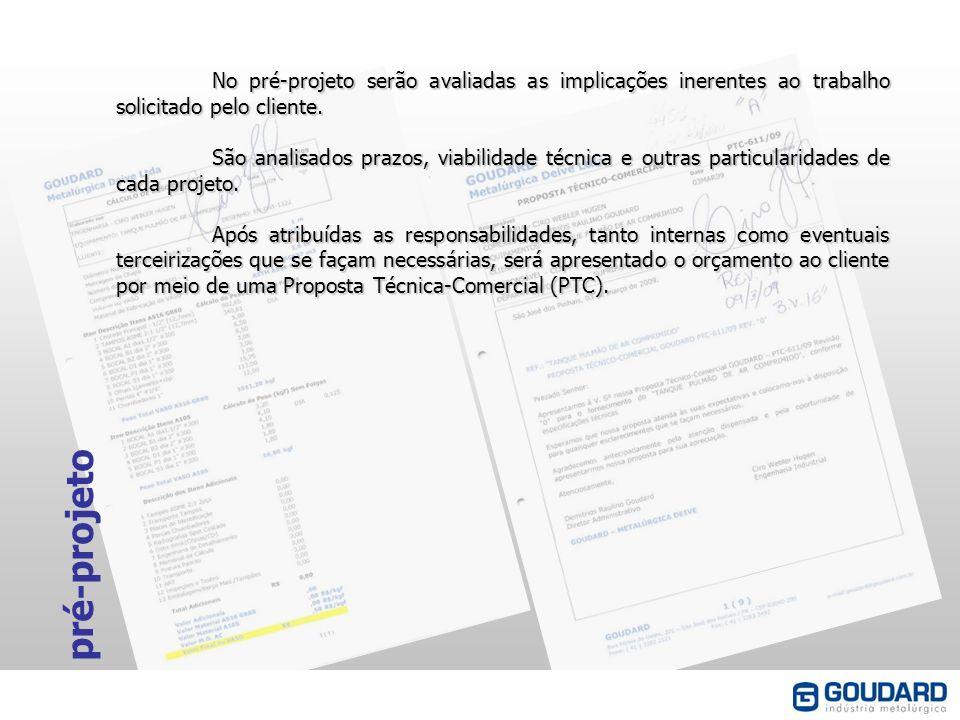 No pré-projeto serão avaliadas as implicações inerentes ao trabalho solicitado pelo cliente.
