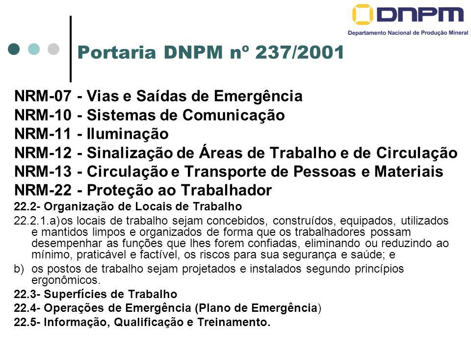 Portaria DNPM nº 237/2001 NRM-07 - Vias e Saídas de Emergência