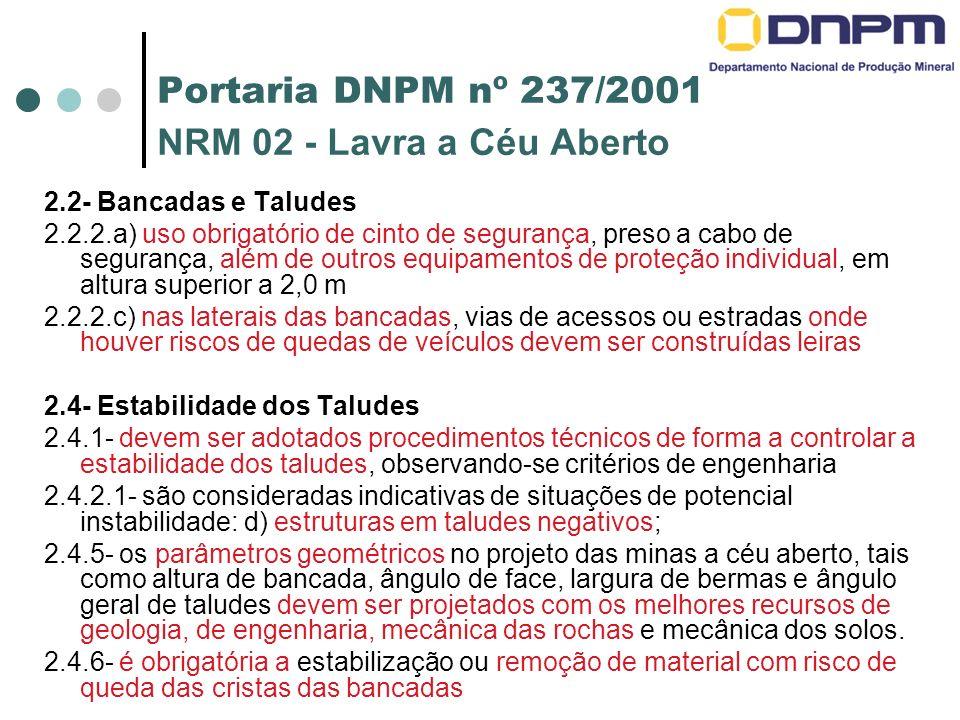 Portaria DNPM nº 237/2001 NRM 02 - Lavra a Céu Aberto