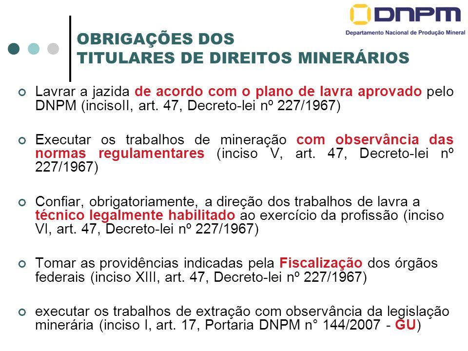 OBRIGAÇÕES DOS TITULARES DE DIREITOS MINERÁRIOS
