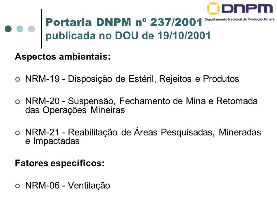Portaria DNPM nº 237/2001 publicada no DOU de 19/10/2001