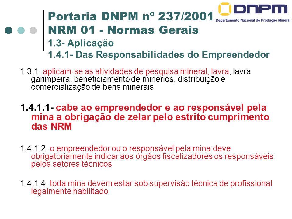Portaria DNPM nº 237/2001 NRM 01 - Normas Gerais 1. 3- Aplicação 1. 4