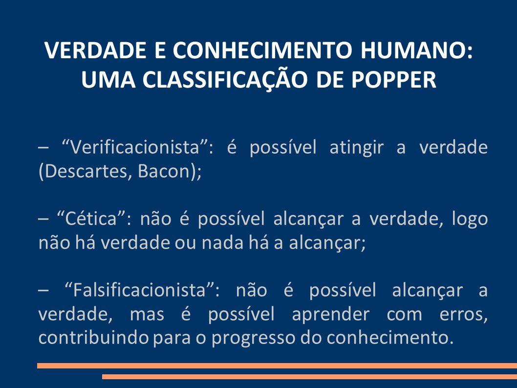 VERDADE E CONHECIMENTO HUMANO: UMA CLASSIFICAÇÃO DE POPPER