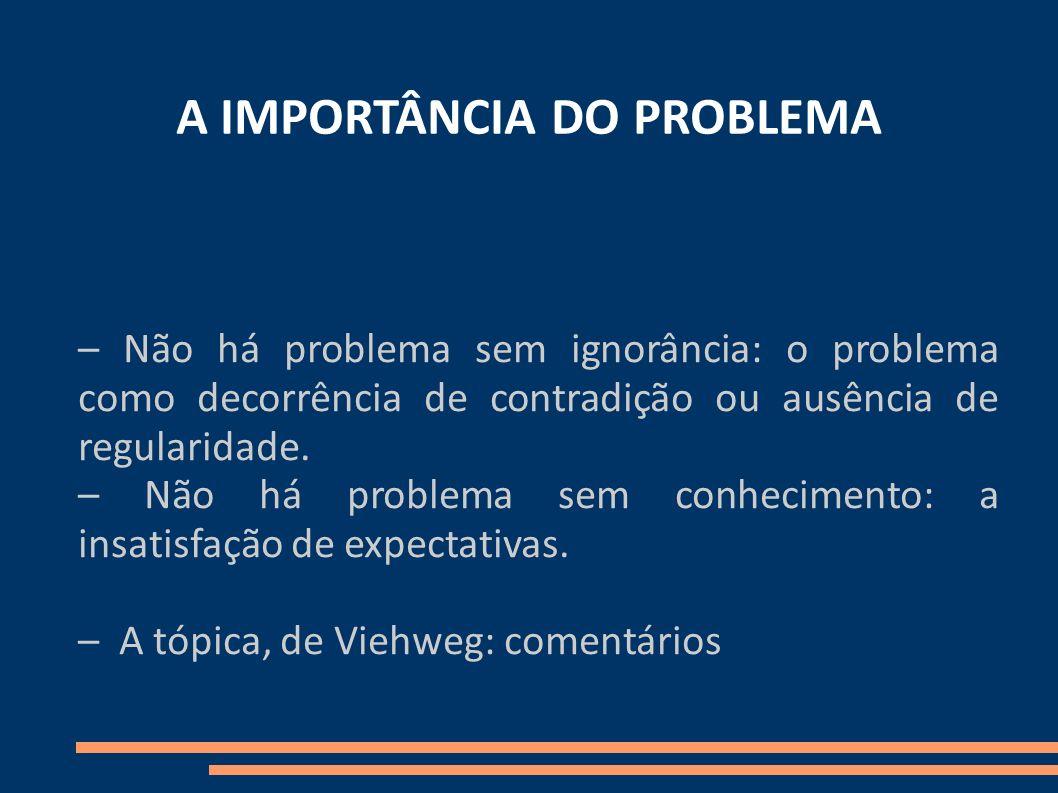 A IMPORTÂNCIA DO PROBLEMA