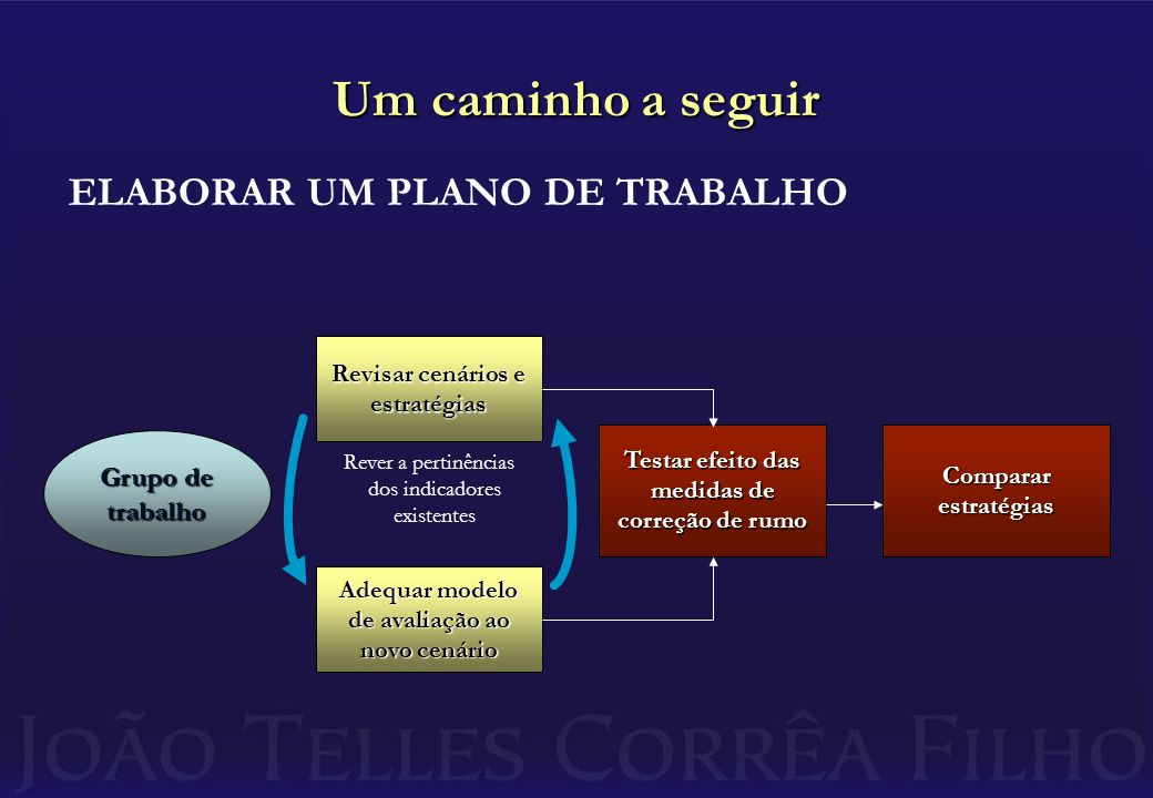 Um caminho a seguir ELABORAR UM PLANO DE TRABALHO Grupo de trabalho