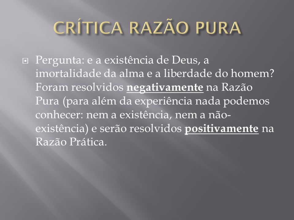 CRÍTICA RAZÃO PURA