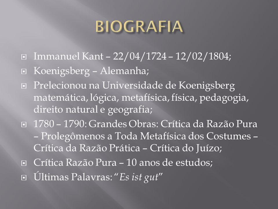 BIOGRAFIA Immanuel Kant – 22/04/1724 – 12/02/1804;