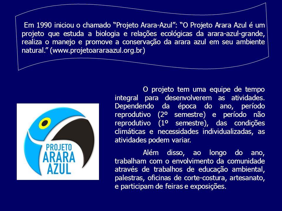 Em 1990 iniciou o chamado Projeto Arara-Azul : O Projeto Arara Azul é um projeto que estuda a biologia e relações ecológicas da arara-azul-grande, realiza o manejo e promove a conservação da arara azul em seu ambiente natural. (www.projetoararaazul.org.br)
