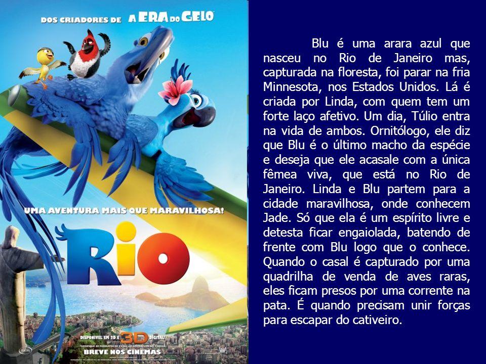 Blu é uma arara azul que nasceu no Rio de Janeiro mas, capturada na floresta, foi parar na fria Minnesota, nos Estados Unidos.