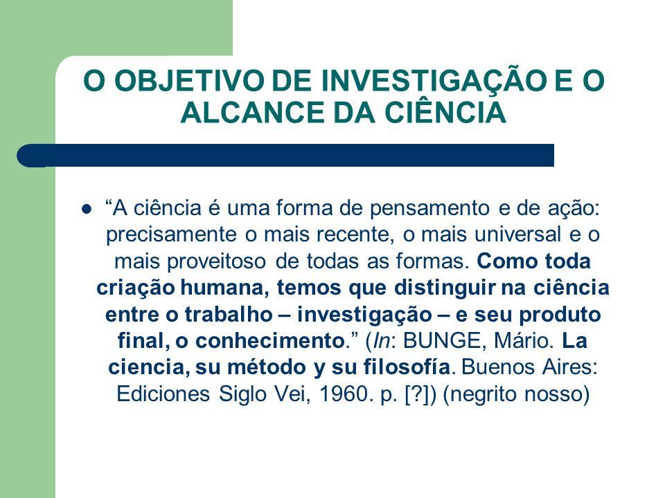 O OBJETIVO DE INVESTIGAÇÃO E O ALCANCE DA CIÊNCIA