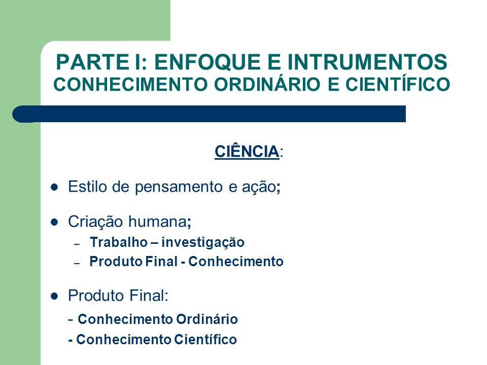 PARTE I: ENFOQUE E INTRUMENTOS CONHECIMENTO ORDINÁRIO E CIENTÍFICO