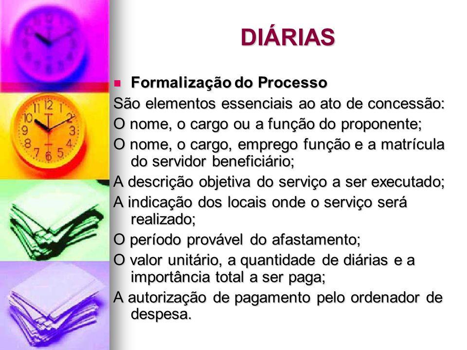 DIÁRIAS Formalização do Processo