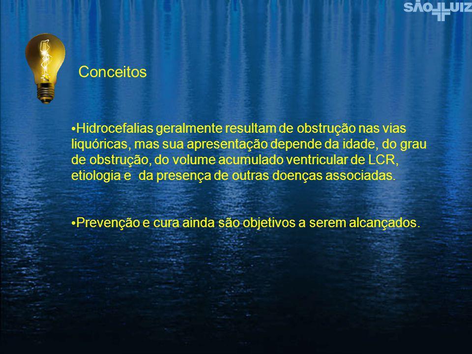 Conceitos Hidrocefalias geralmente resultam de obstrução nas vias