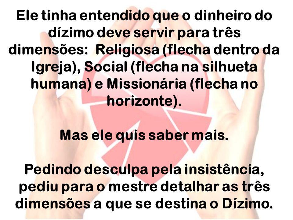 Ele tinha entendido que o dinheiro do dízimo deve servir para três dimensões: Religiosa (flecha dentro da Igreja), Social (flecha na silhueta humana) e Missionária (flecha no horizonte).