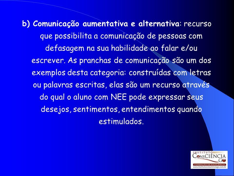 b) Comunicação aumentativa e alternativa: recurso que possibilita a comunicação de pessoas com defasagem na sua habilidade ao falar e/ou escrever.