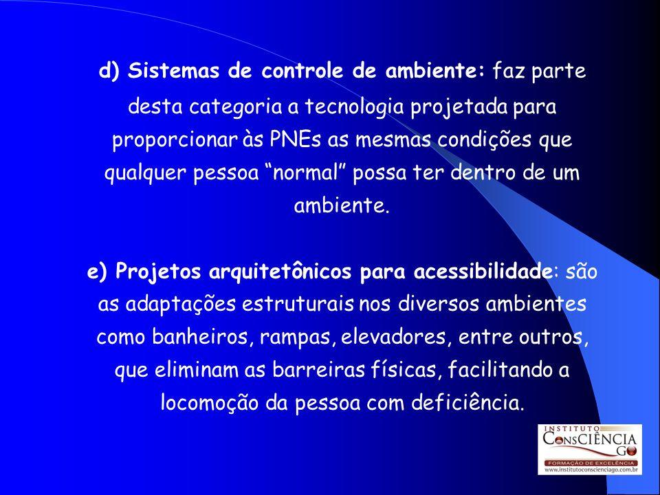 d) Sistemas de controle de ambiente: faz parte desta categoria a tecnologia projetada para proporcionar às PNEs as mesmas condições que qualquer pessoa normal possa ter dentro de um ambiente.