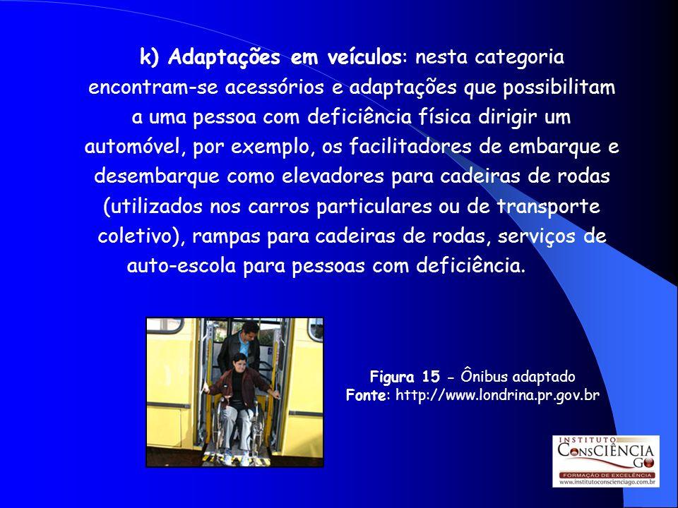 k) Adaptações em veículos: nesta categoria encontram-se acessórios e adaptações que possibilitam a uma pessoa com deficiência física dirigir um automóvel, por exemplo, os facilitadores de embarque e desembarque como elevadores para cadeiras de rodas (utilizados nos carros particulares ou de transporte coletivo), rampas para cadeiras de rodas, serviços de auto-escola para pessoas com deficiência.