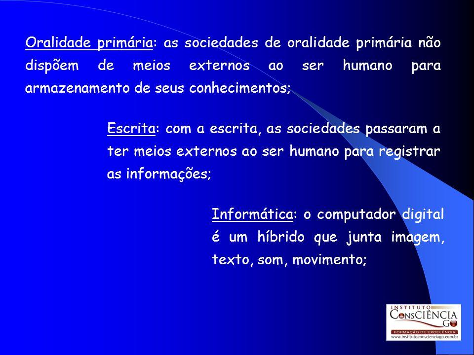 Oralidade primária: as sociedades de oralidade primária não dispõem de meios externos ao ser humano para armazenamento de seus conhecimentos;