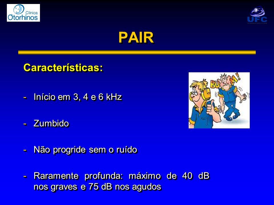 PAIR Características: Início em 3, 4 e 6 kHz Zumbido