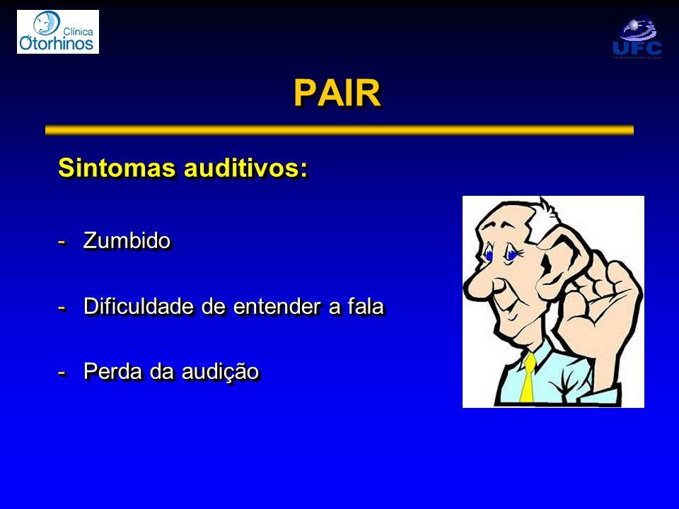 PAIR Sintomas auditivos: Zumbido Dificuldade de entender a fala