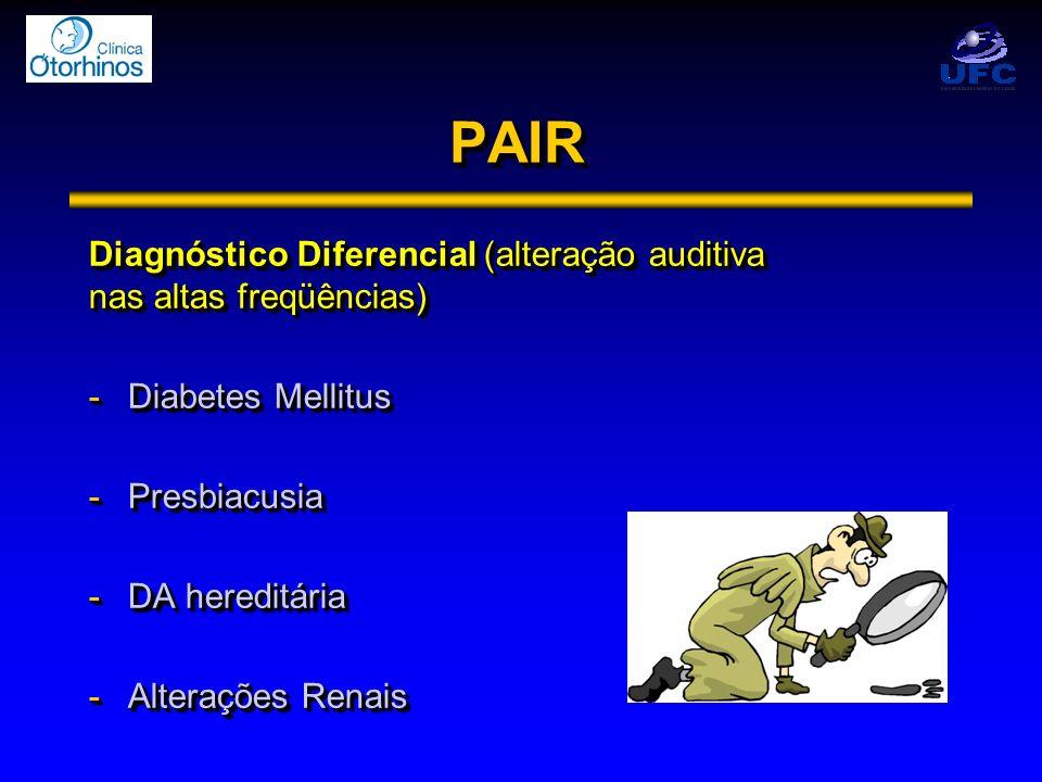 PAIR Diagnóstico Diferencial (alteração auditiva nas altas freqüências) Diabetes Mellitus. Presbiacusia.