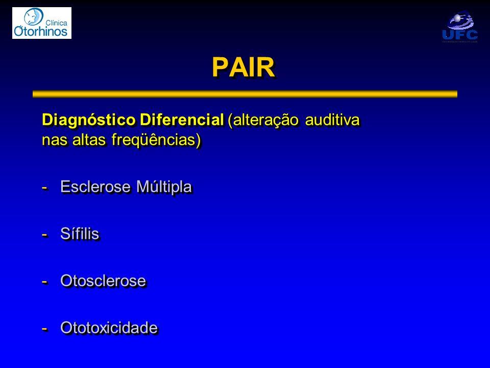 PAIR Diagnóstico Diferencial (alteração auditiva nas altas freqüências) Esclerose Múltipla. Sífilis.