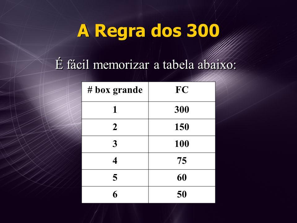 A Regra dos 300 É fácil memorizar a tabela abaixo: # box grande FC 1