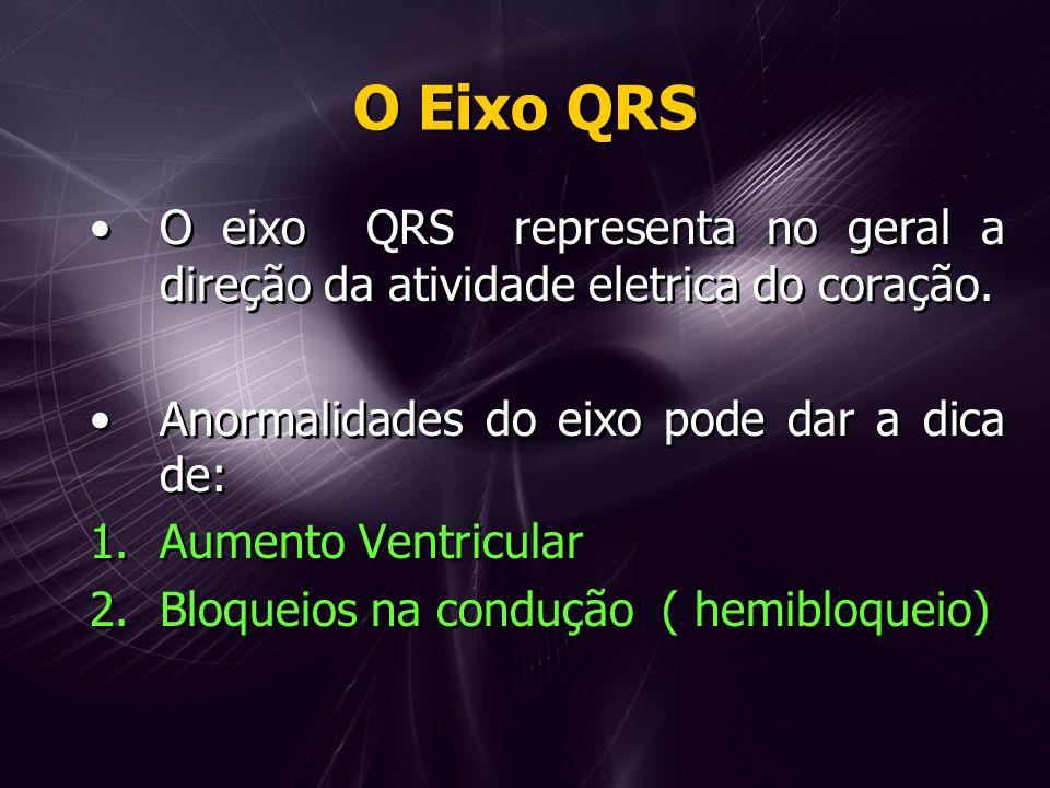 O Eixo QRS O eixo QRS representa no geral a direção da atividade eletrica do coração. Anormalidades do eixo pode dar a dica de: