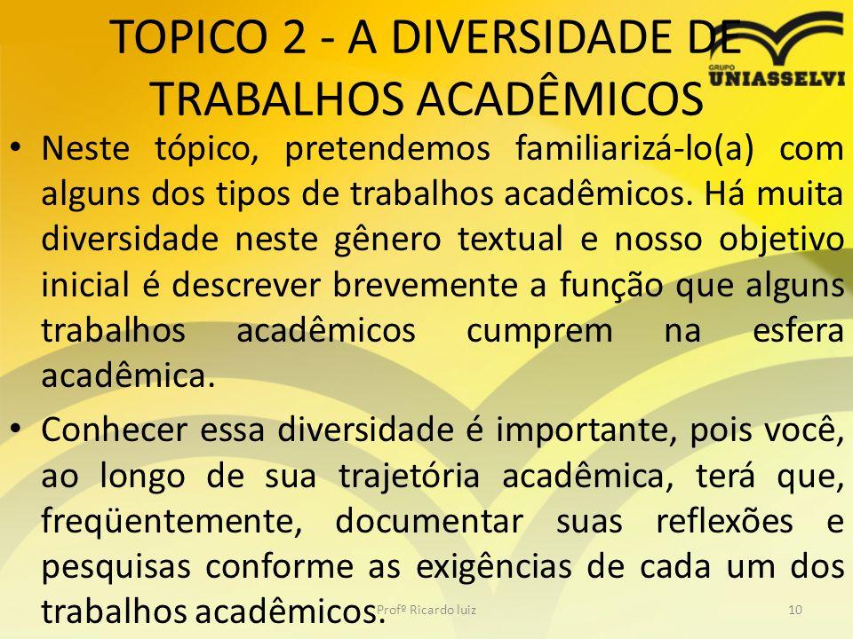 TOPICO 2 - A DIVERSIDADE DE TRABALHOS ACADÊMICOS