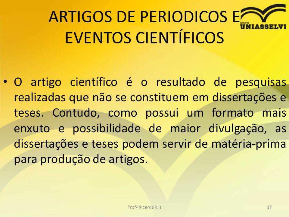 ARTIGOS DE PERIODICOS E EVENTOS CIENTÍFICOS