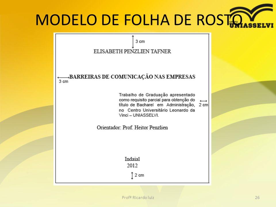 MODELO DE FOLHA DE ROSTO