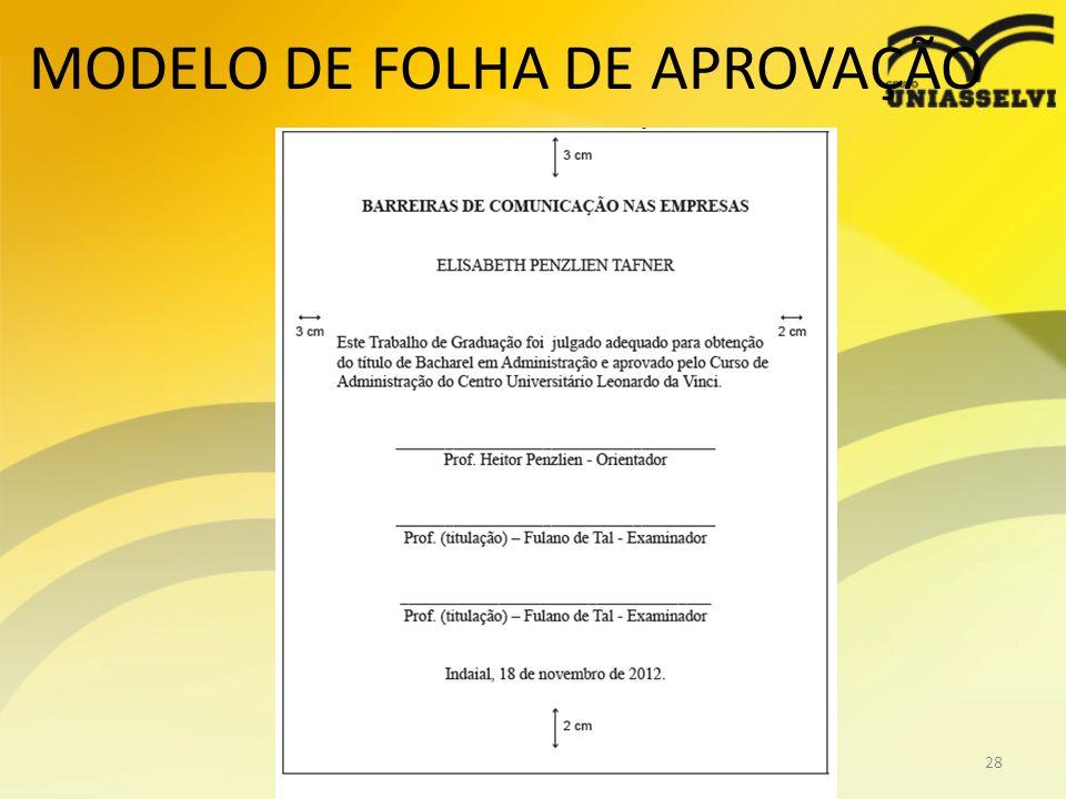 MODELO DE FOLHA DE APROVAÇÃO