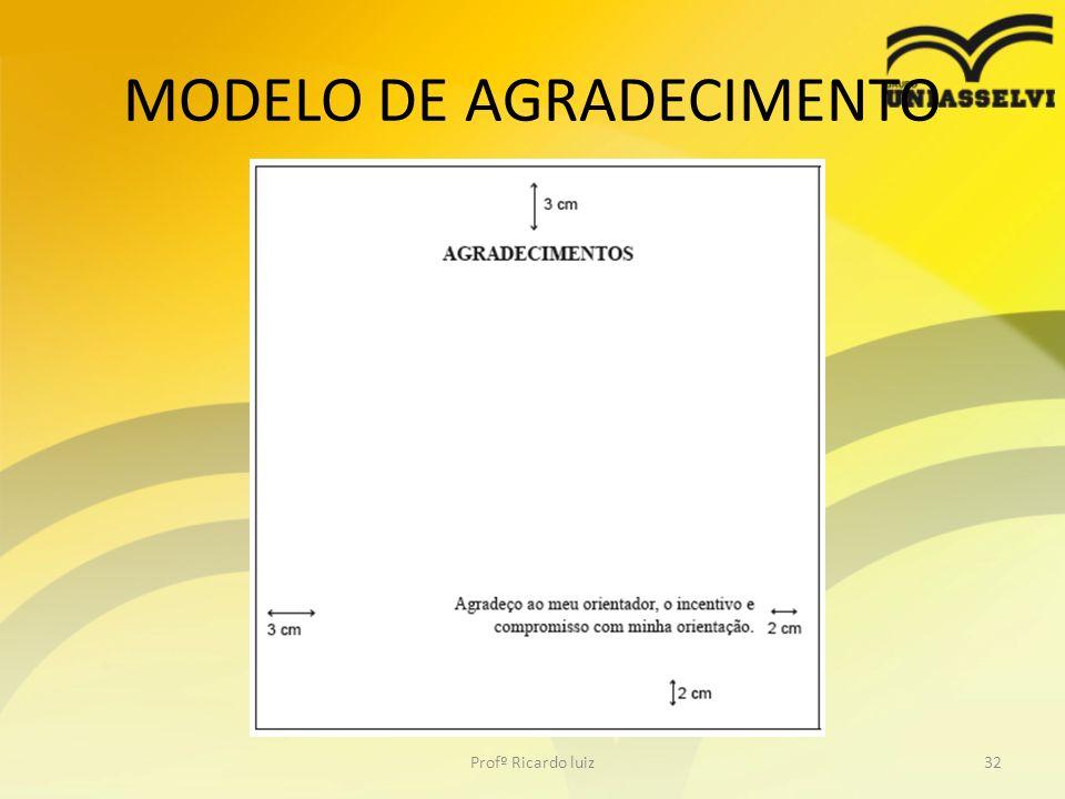 MODELO DE AGRADECIMENTO