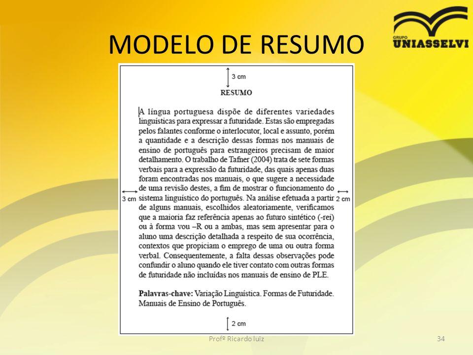 MODELO DE RESUMO Profº Ricardo luiz