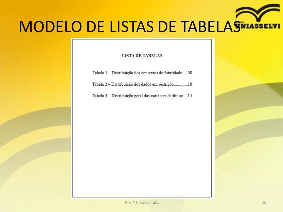 MODELO DE LISTAS DE TABELAS