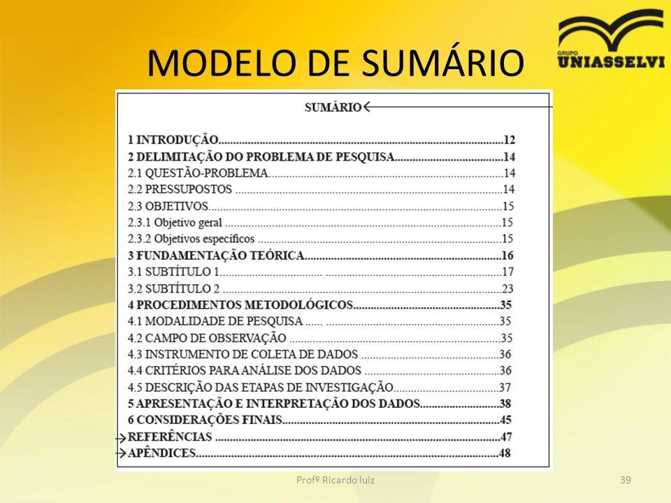 MODELO DE SUMÁRIO Profº Ricardo luiz