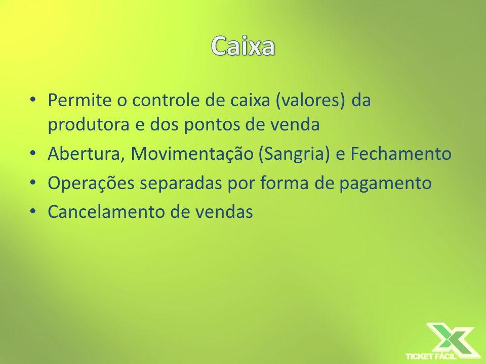 CaixaPermite o controle de caixa (valores) da produtora e dos pontos de venda. Abertura, Movimentação (Sangria) e Fechamento.