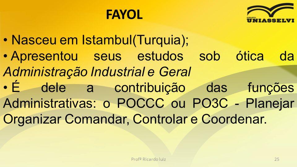 FAYOL Nasceu em Istambul(Turquia);