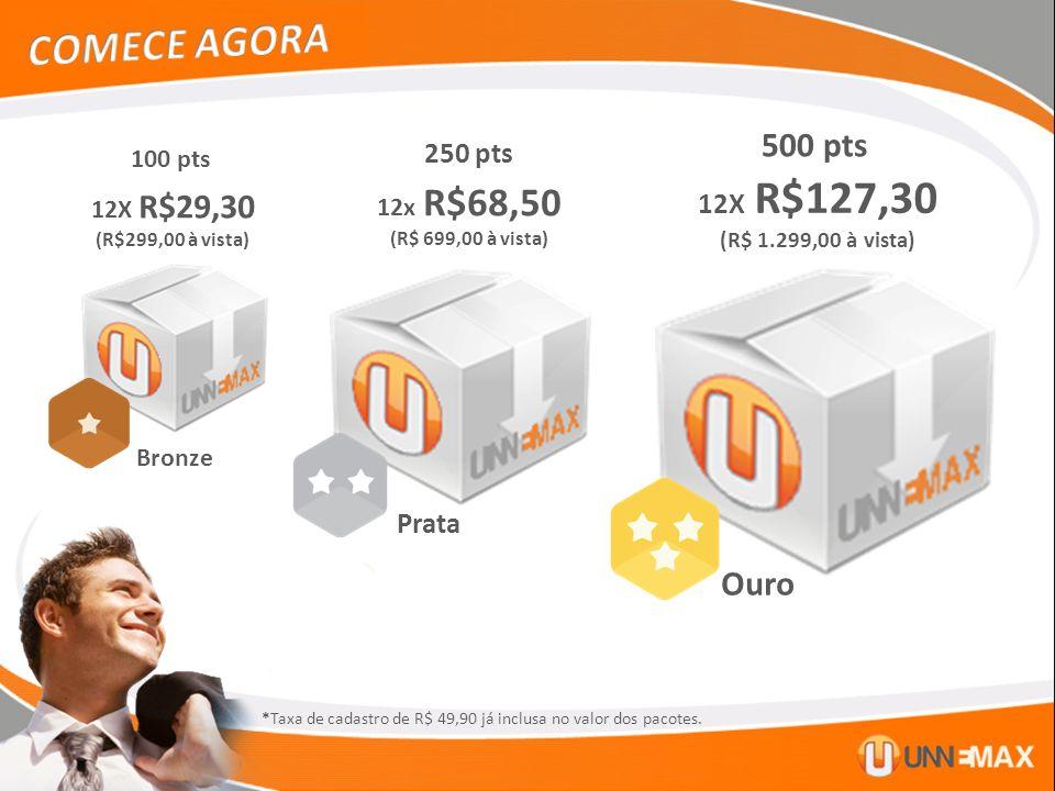 COMECE AGORA 500 pts Ouro 250 pts 12X R$127,30 Prata 100 pts