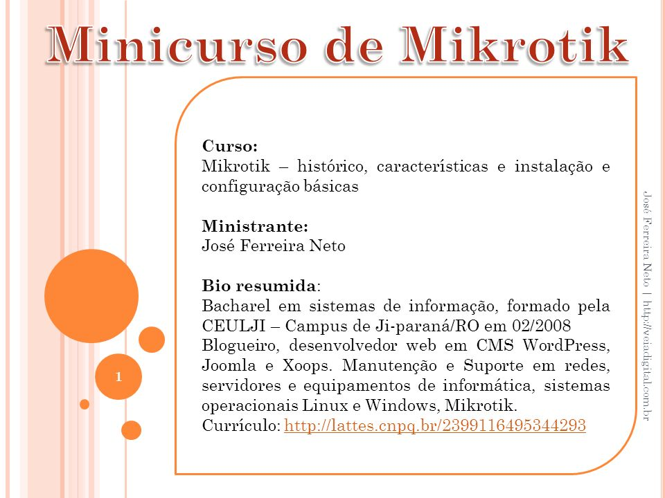 Minicurso de Mikrotik Curso:
