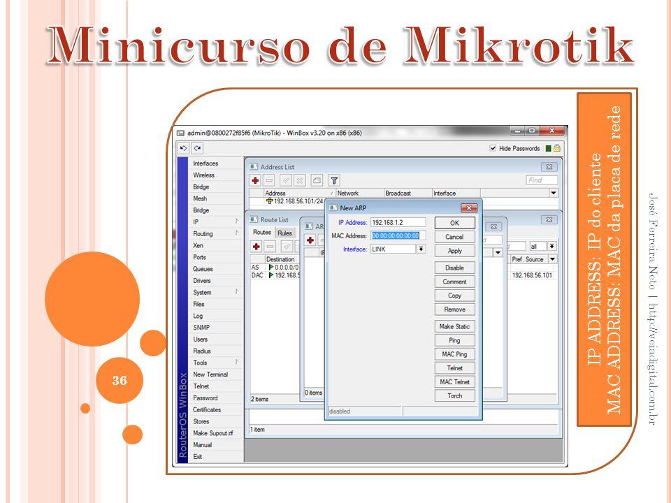Minicurso de Mikrotik MAC ADDRESS: MAC da placa de rede