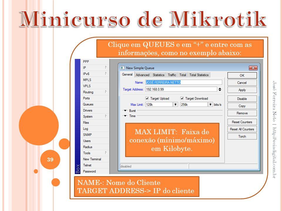 MAX LIMIT: Faixa de conexão (mínimo/máximo) em Kilobyte.