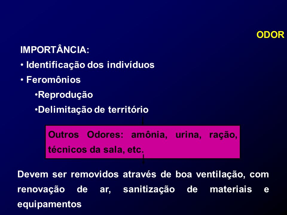 ODOR IMPORTÂNCIA: Identificação dos indivíduos. Feromônios. Reprodução. Delimitação de território.