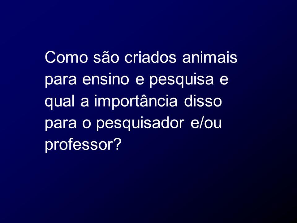Como são criados animais para ensino e pesquisa e qual a importância disso para o pesquisador e/ou professor