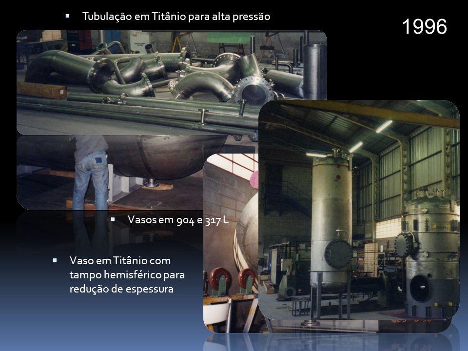 1996 Tubulação em Titânio para alta pressão Vasos em 904 e 317 L