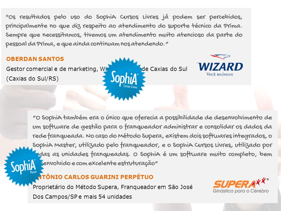 OBERDAN SANTOS Gestor comercial e de marketing, Wizard – Unidade Caxias do Sul. (Caxias do Sul/RS)