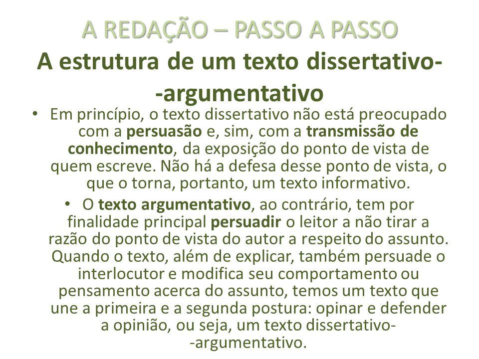 A REDAÇÃO – PASSO A PASSO A estrutura de um texto dissertativo- -argumentativo
