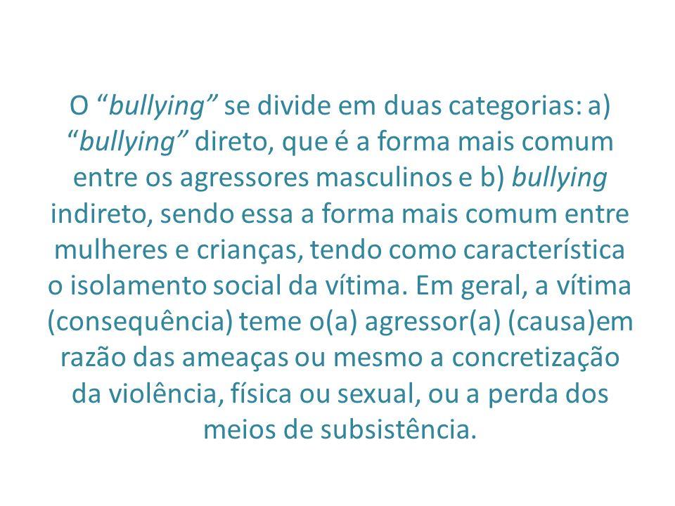 O bullying se divide em duas categorias: a) bullying direto, que é a forma mais comum entre os agressores masculinos e b) bullying indireto, sendo essa a forma mais comum entre mulheres e crianças, tendo como característica o isolamento social da vítima.