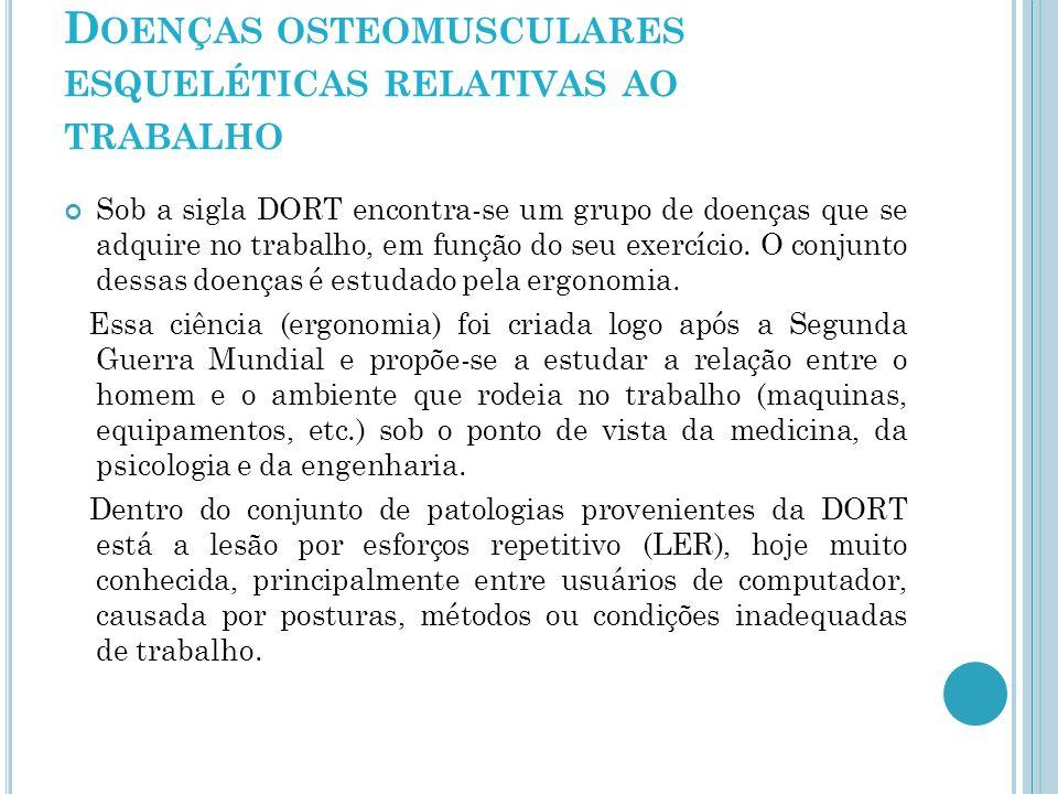 Doenças osteomusculares esqueléticas relativas ao trabalho