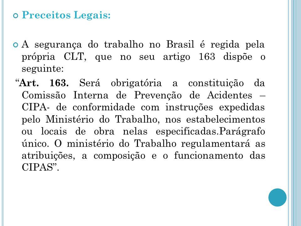 Preceitos Legais: A segurança do trabalho no Brasil é regida pela própria CLT, que no seu artigo 163 dispõe o seguinte: